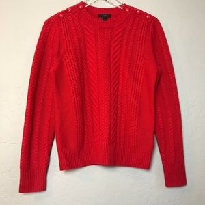 J. Crew Red Wool Cable Knit Sweater in Size M